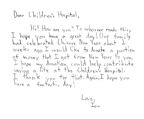 Donor letter from Ian