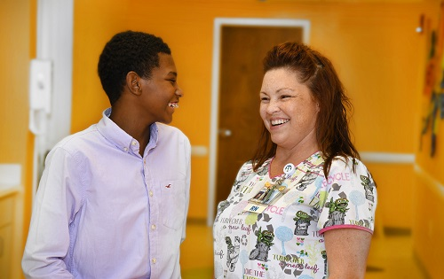 Bryan, age 14 (Diagnosis: Sickle Cell Anemia) visits with Kelly, RN (Hematology and Oncology Clinic)