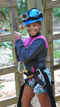 Jaleah, age 9, attendsCamp Eagle's Nest,a special camp forChildren's Hospital'shematology andoncology patients