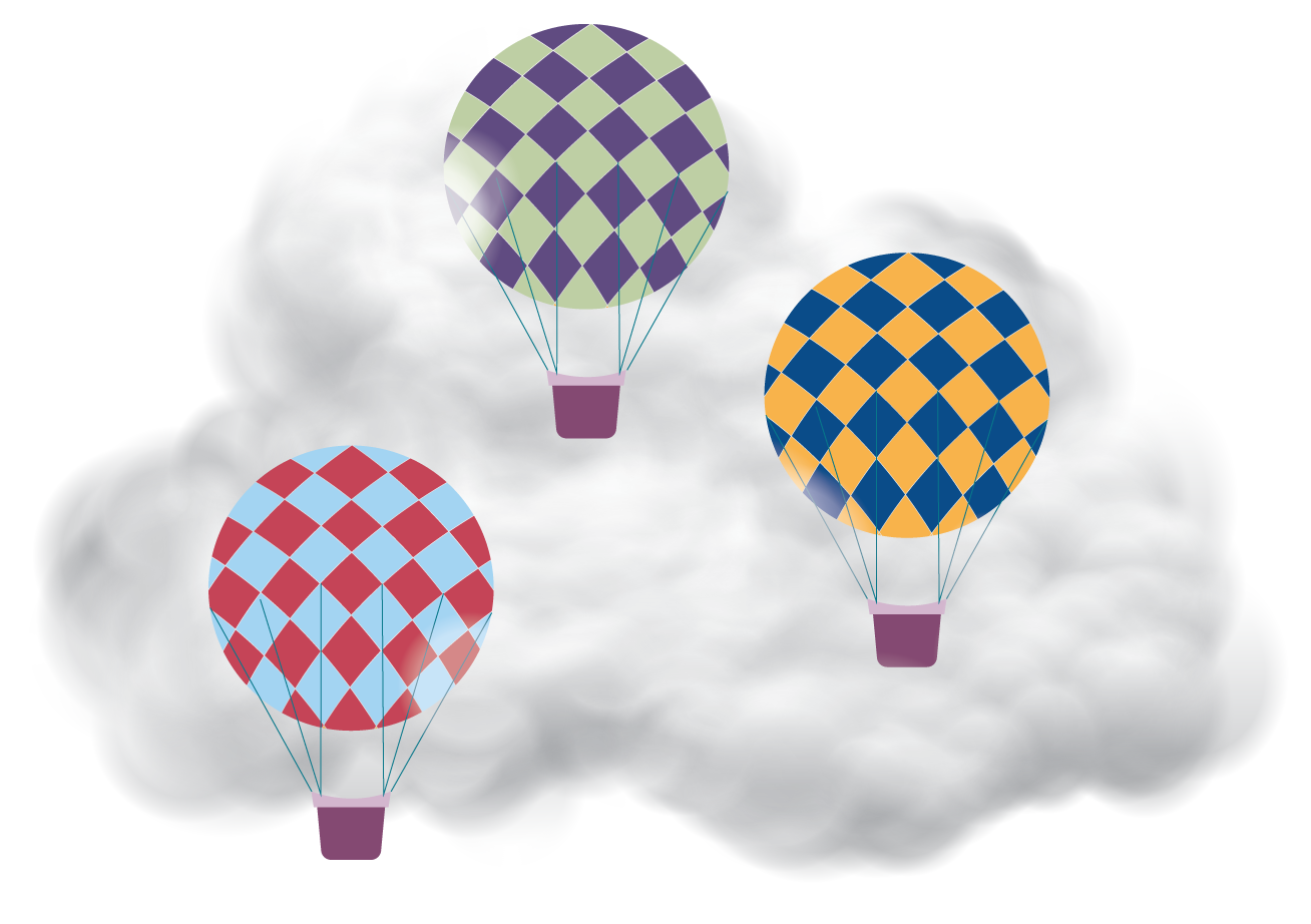 Three illustrated hot air balloons in the clouds