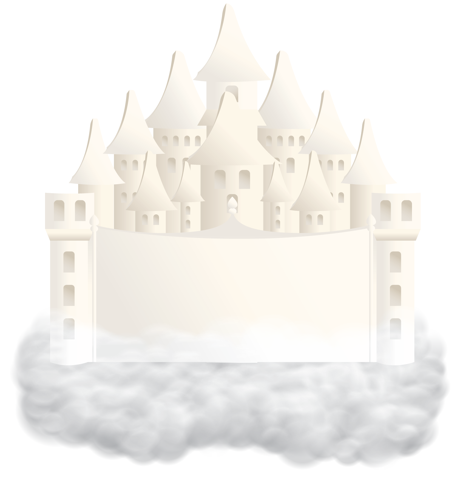 illustrated floating castle in the clouds