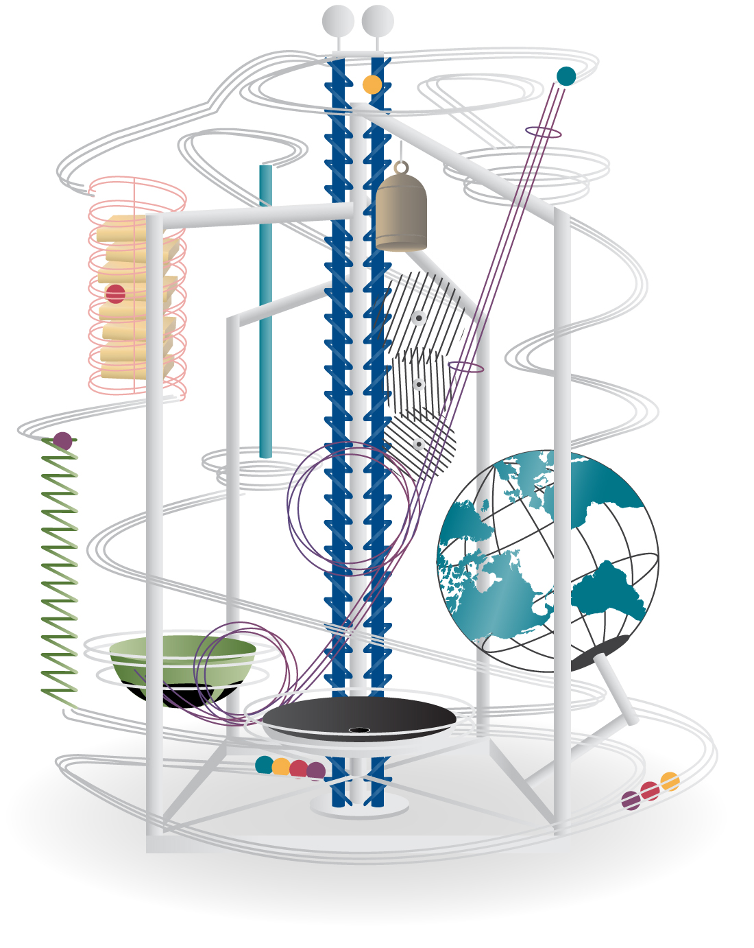 Illustration of the Eureka Audio-Kinetic Sculpture at East Tennessee Children's Hospital